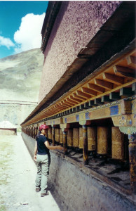 Hundreds of prayer wheels circled the Tibetan temples